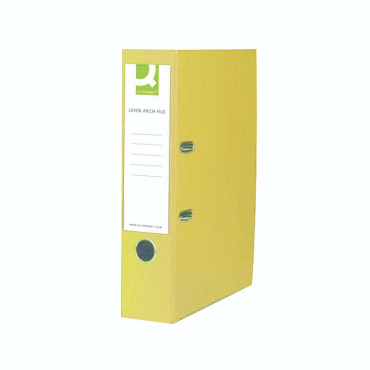 KF01476 Q-Connect 70mm Lever Arch File Polypropylene Foolscap Yellow Pack 10 KF01476