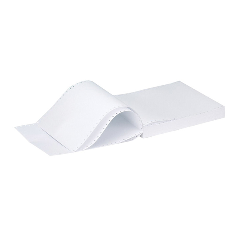 KF50059 Q-Connect 11x9 5 Inches 3-Part Long Perforated Plain Listing Paper 60gsm NCR White 700 Sheets C3NPP
