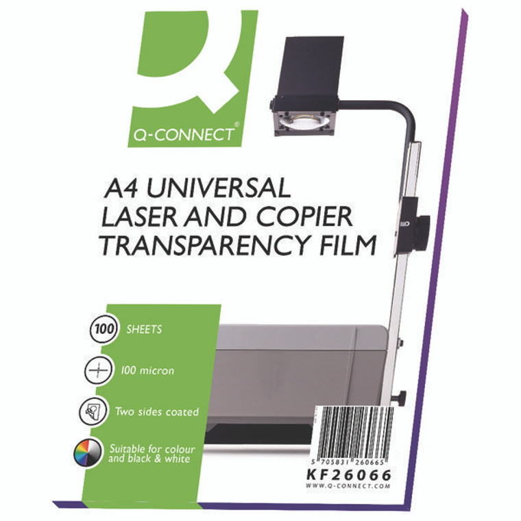KF26066 Q-Connect Clear Over Head Projector Film Pack 100 KF26066