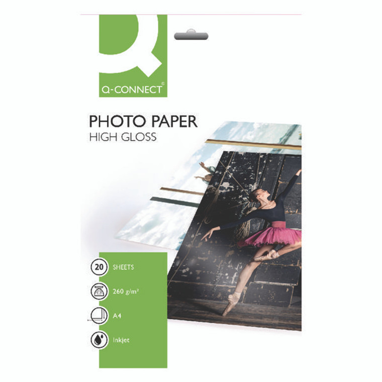 KF02163 Q-Connect inkjet Photo Paper A4 260gsm High Gloss Pack 20 KF02163