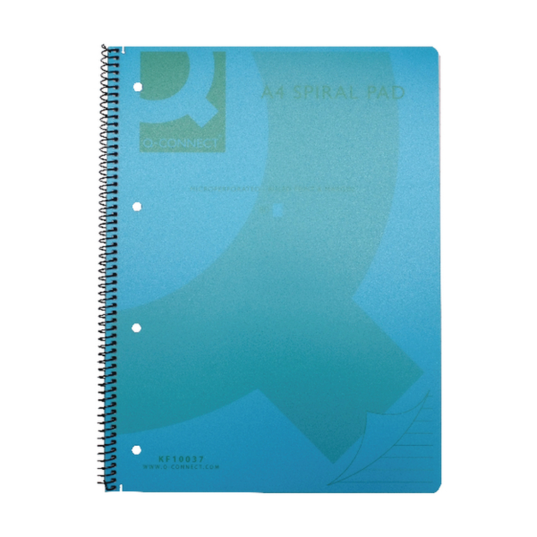 KF10037 Q-Connect Spiral Bound Polypropylene Notebook 160 Pages A4 Blue Pack 5 KF10037