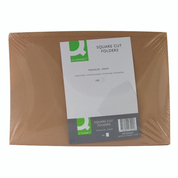 KF23025 Q-Connect Kraft Square Cut Folder 170gsm Foolscap Buff Pack 100 KF23025
