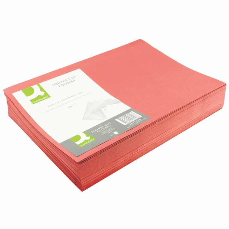 KF26028 Q-Connect Square Cut Folder Lightweight 180gsm Foolscap Red Pack 100 KF26028