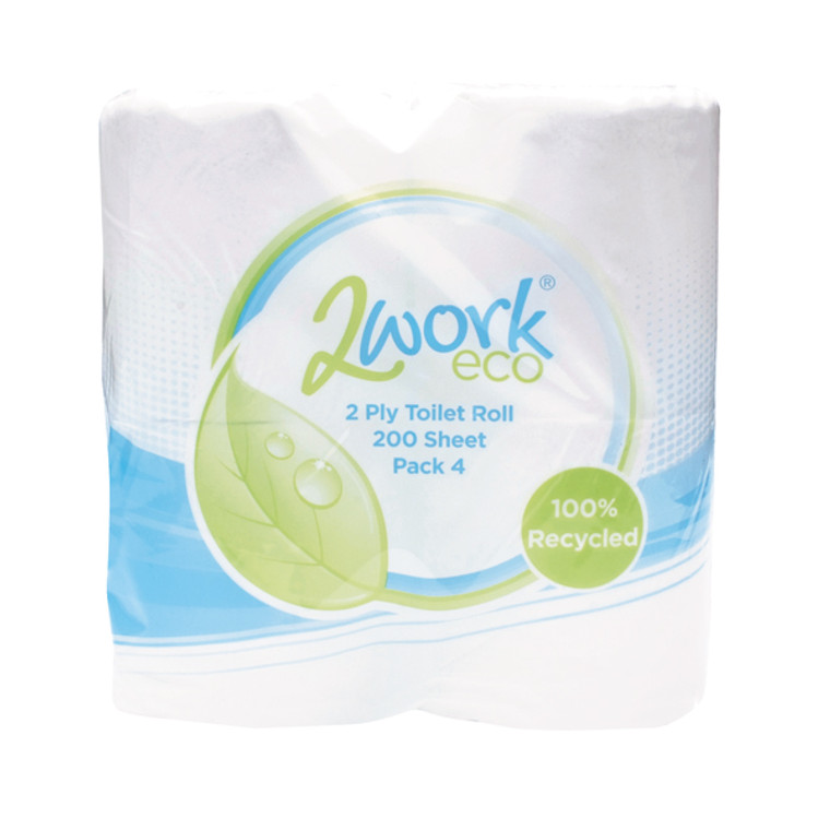 KF03809 2Work Recycled 2-Ply Toilet Roll 200 Sheets Pack 36 KF03809