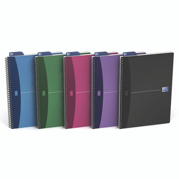 JD36639 Oxford Poly Opaque Wirebound Notebook A4 Assorted Pack 5 100101918