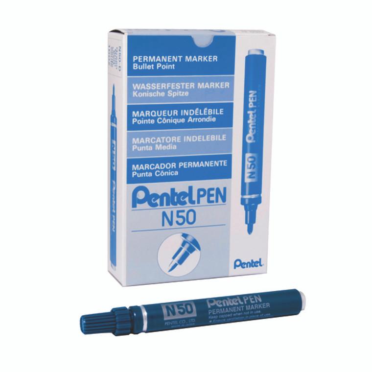 PEN50BU Pentel N50 Permanent Bullet Marker Broad Blue Pack 12 N50-C