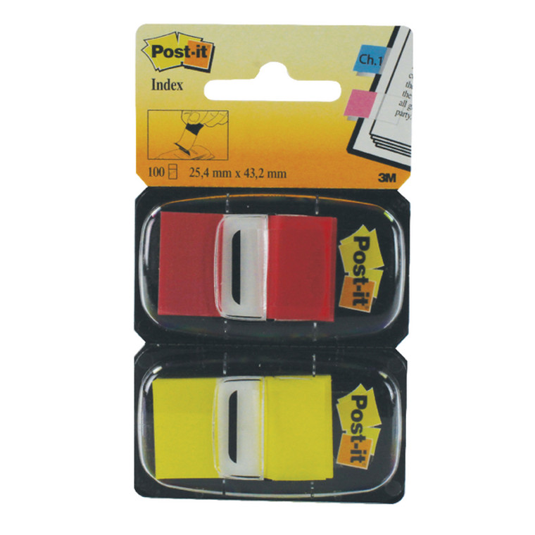3M59870 Post-it Index Tabs Red Yellow Pack 100 680-RY2