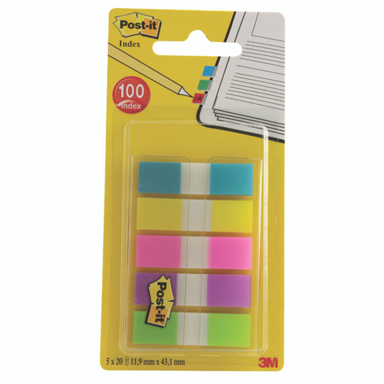 3M31708 Post-it Portable Small Index 12mm Assorted Pack 100 683-5CBINDEX