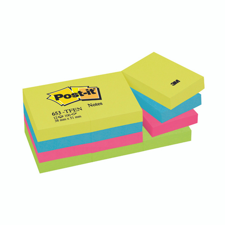 3M87121 Post-it Notes 38 x 51mm Energy Colours Pack 12 653TF