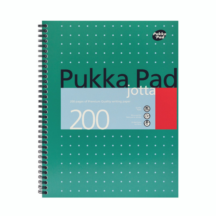 PP00022 Pukka Pad Ruled Wirebound Metallic Jotta Notebook 200 Pages A4 Pack 3 JM018