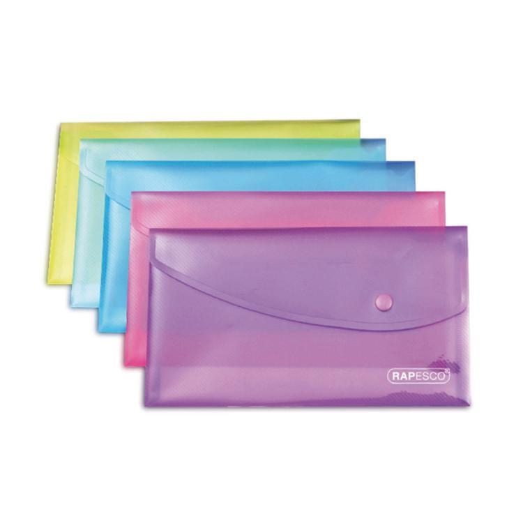 HT17017 Rapesco Popper Wallet DL Assorted Pack 5 0690