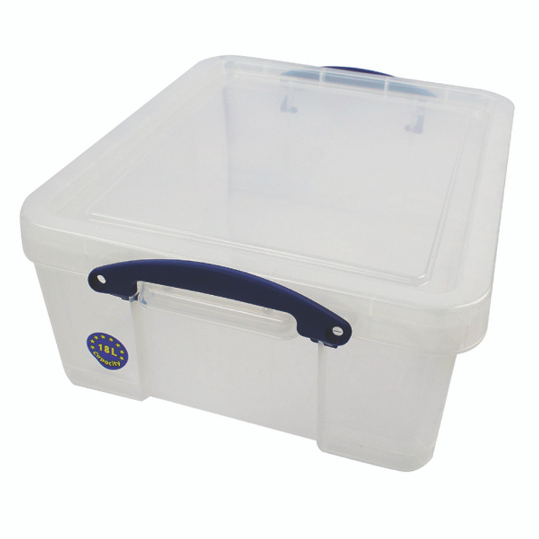 RUP80155 Really Useful 18L Plastic Storage Box With Lid W480xD390xH200mm CD DVDs Clear EBCCD