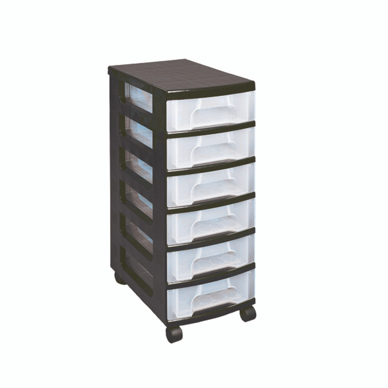 RUP80651 Really Useful Plastic Storage Tower With 6 Drawers Black ST6X7C