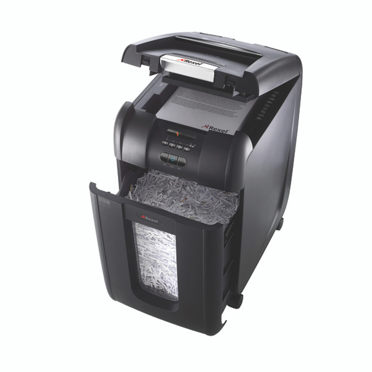RM30958 Rexel Auto 300X Cross Cut Shredder Black Shreds up 300 sheets 80gsm paper 2103250