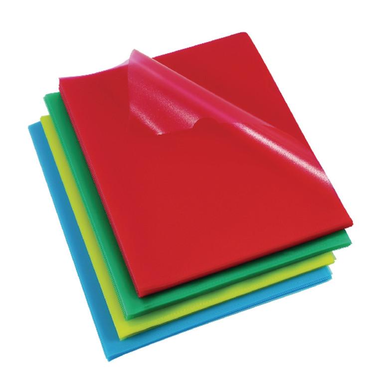 RX12216A Rexel Cut Flush Folders Polypropylene A4 Assorted Pack 100 12216AS