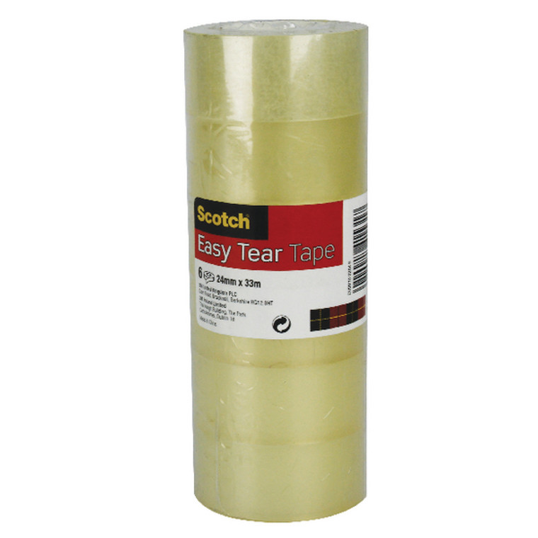 3M41531 Scotch Easy Tear Clear Tape 24mm x 33m Pack 6 ET2433T6