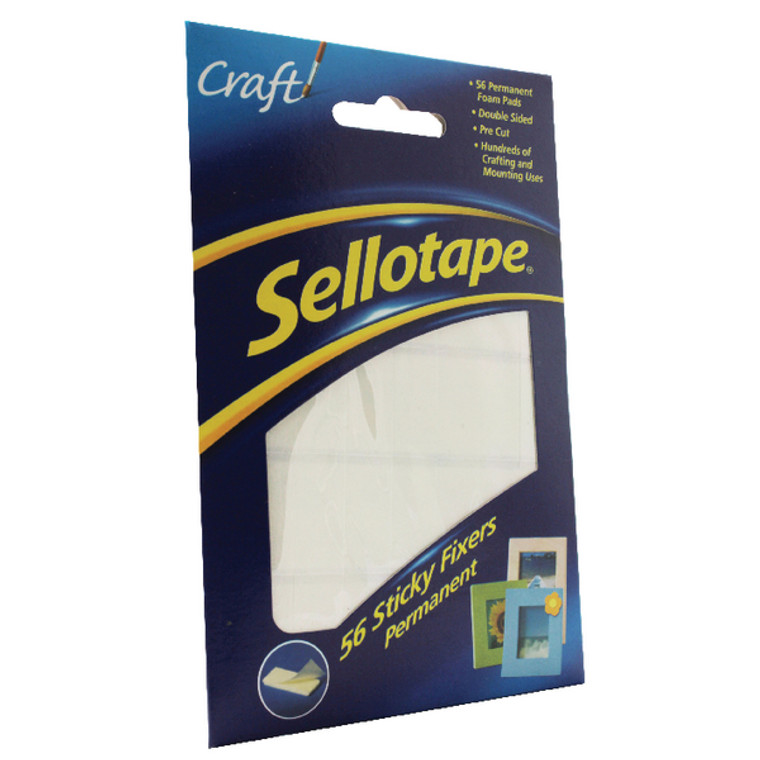 SE37984 Sellotape Sticky Fixers Permanent 12x25mm Pack 56 1445423