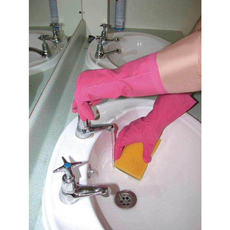 HEA00723 Shield Household Rubber Medium Gloves Pink GR03