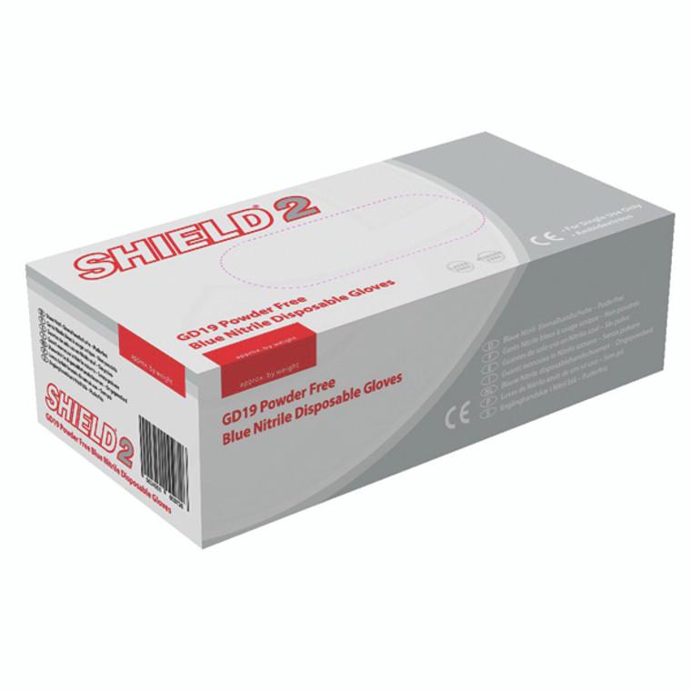 HEA00974 Shield Powder-Free Blue Nitrile Large Gloves Pack 100 GD19