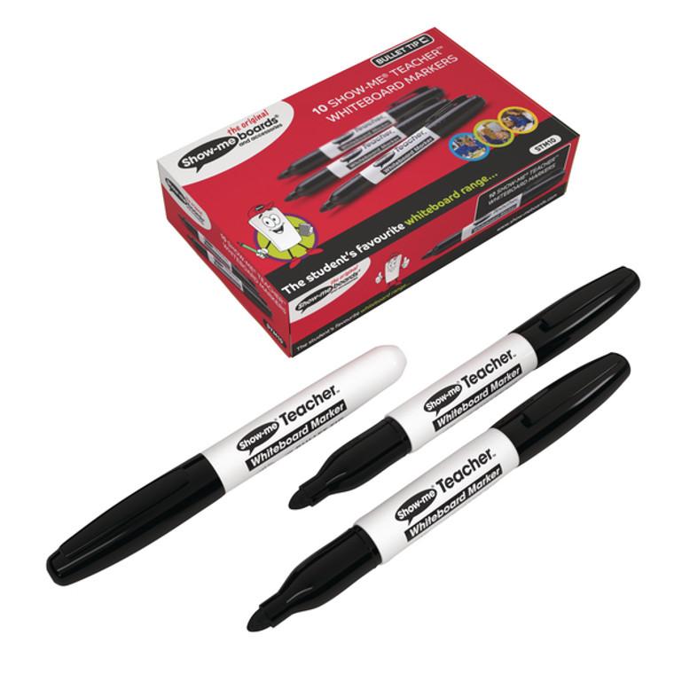 EG60301 Show-me Teacher Drywipe Marker Black Pack 10 STM10