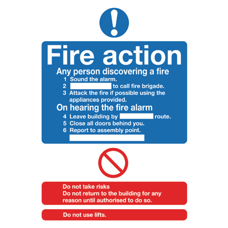 SR11224 Safety Sign Fire Action Standard A5 PVC Can fill in site specific information FR03551R