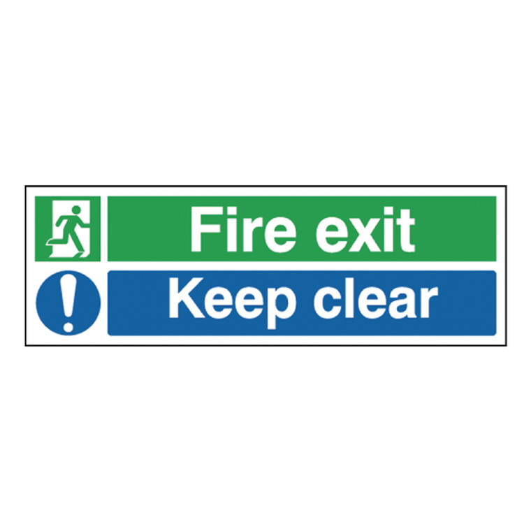 SR71733 Safety Sign Fire Exit Keep Clear 150x450mm Self-Adhesive EC08S S
