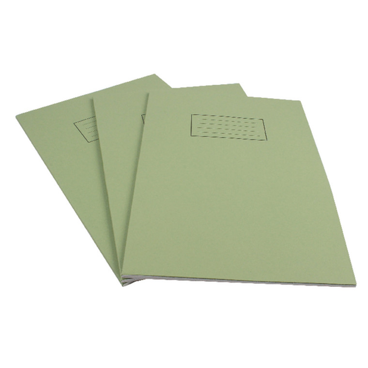 SV43511 Silvine Exercise Book Ruled with Margin A4 Green Pack 10 EX110