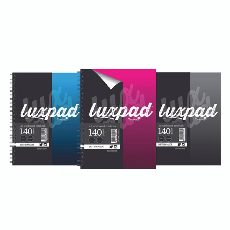 SV42994 Silvine Luxpad Hardback Wirebound Notebook A5 Pack 12 THBA5AC