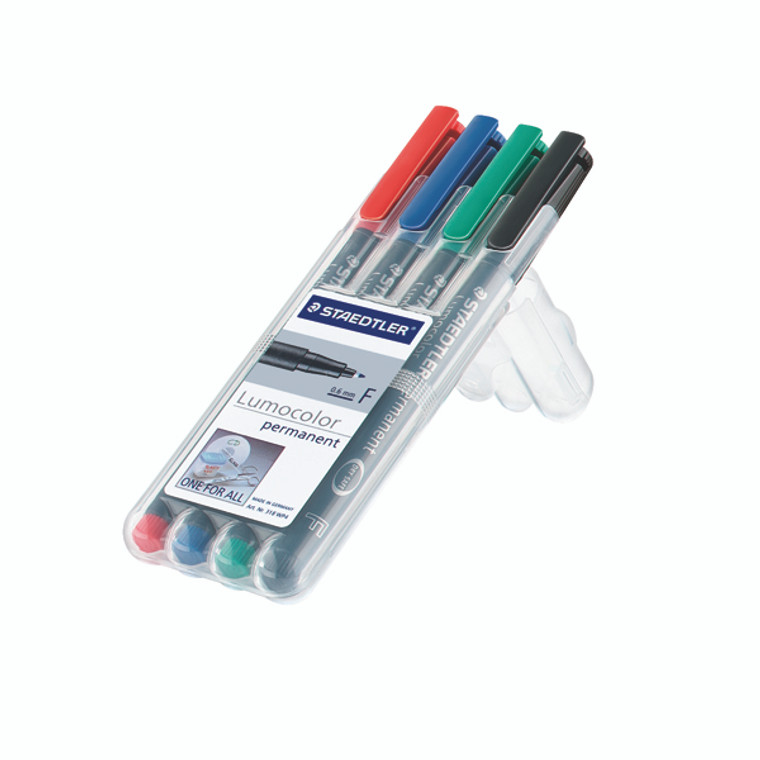 ST30454 Staedtler Lumocolour Non-Permanent Fine Assorted Pack 4 316-WP4
