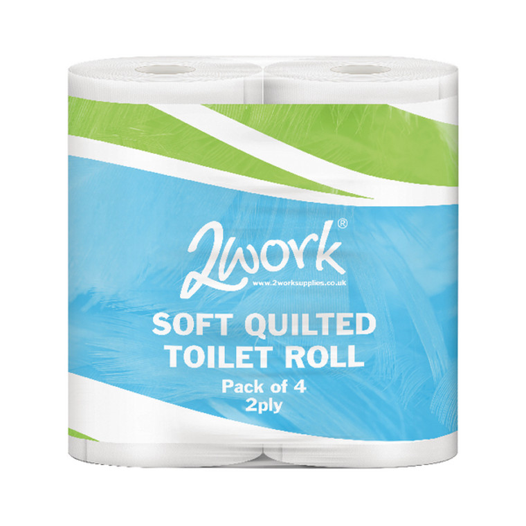 JAN03090 2Work Luxury 2-Ply Quilted Toilet Roll 300 Sheets Pack 40 DQ4Pk