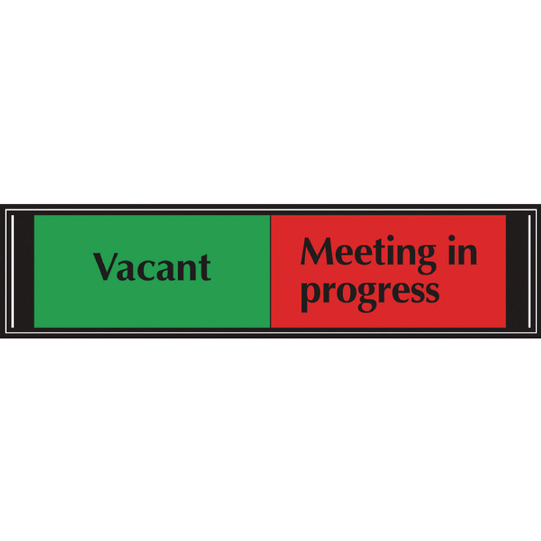 UP20219 Sliding Sign Vacant Meeting In Progress Self Adhesive 225x52mm