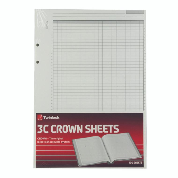 TW75849 Rexel Crown 3C F9 Treble Cash Refill Sheets Pack 100 75849