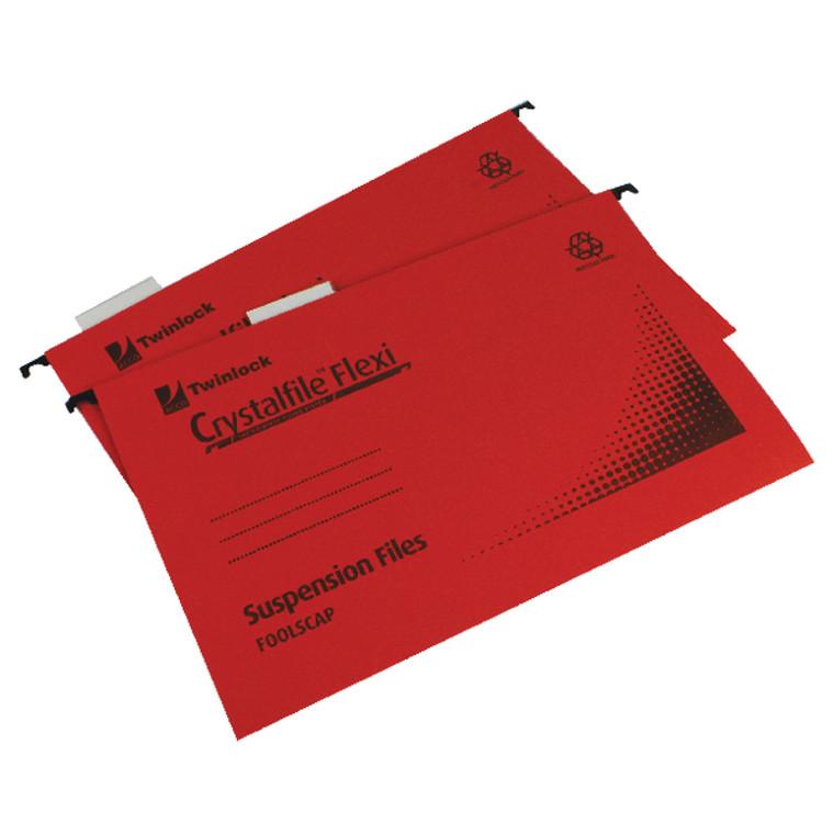 TW13773 Rexel Crystalfile Flexi Standard Foolscap Red Pack 50 3000042