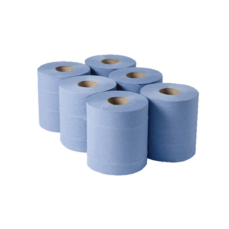WX00755 1-Ply Blue Centrefeed Rolls 290mx180mm Pack 6 CBL290S