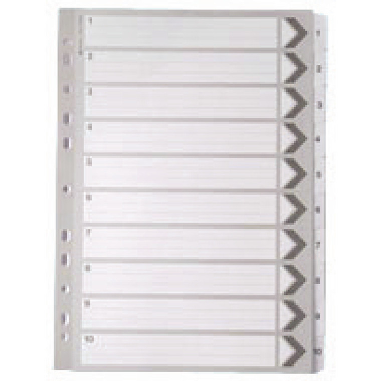 WX01528 A4 White 1-10 Mylar Index Mylar reinforced tabs holes durability WX10528