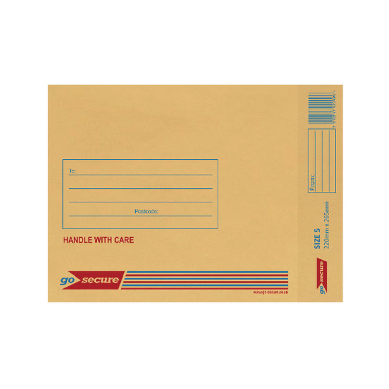 ML10050 GoSecure Bubble Lined Envelope Size 5 220x265mm Gold Pack 100 ML10050