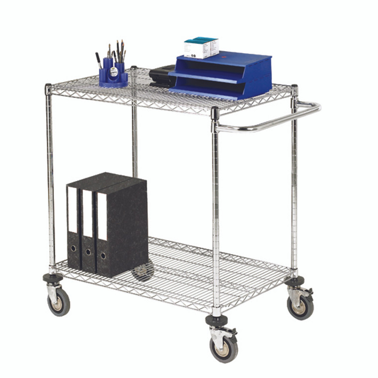 SBY19673 2-Tier 240kg Chrome Mobile Trolley W457 x D914 x H965mm 372995