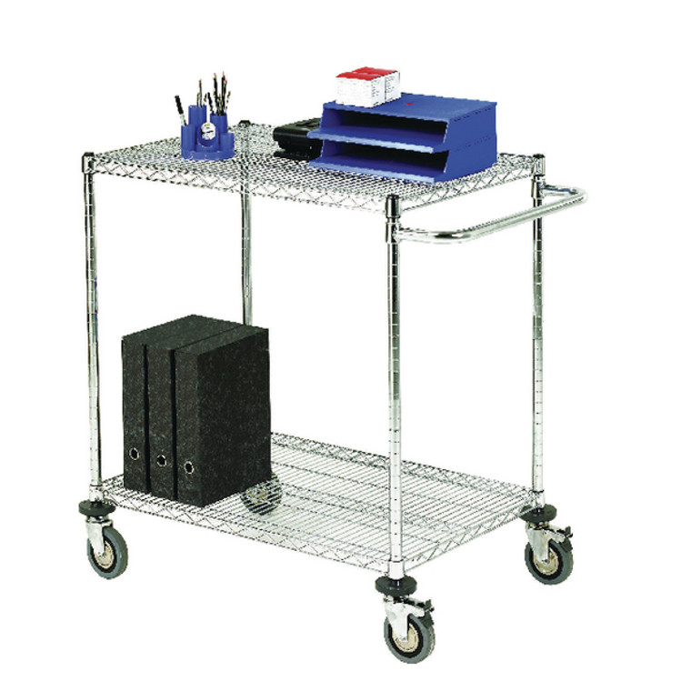 SBY19679 2-Tier 240kg Chrome Mobile Trolley W610 x D914 x H965mm 373001
