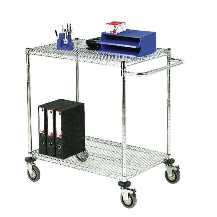 SBY19683 2-Tier 240kg Chrome Mobile Trolley W610 x D1524 x H965mm 373005