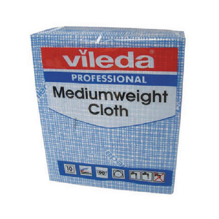VIL04875 Vileda Medium Weight Cloth Blue Pack 10 106399