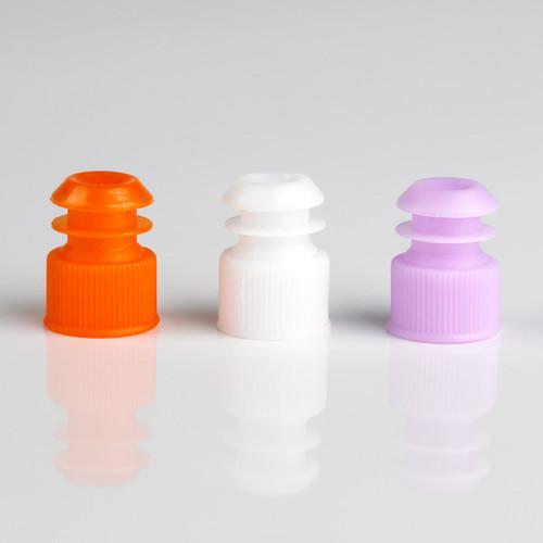 Orange, White and Lavender Colored 12mm Flanged Plug Cap, Polyethylene (PE)