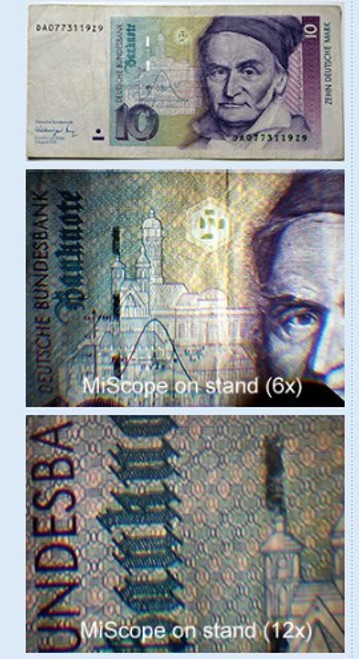Image of currency of different magnification taken in MiScope with MISCstand