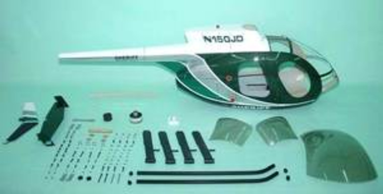 FUNKEY Scale fuselage Hughes MD500E .50 (600) size Green Color with Landing Skid