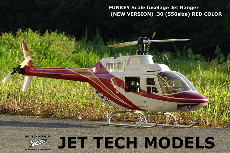 FUNKEY Scale fuselage Jet Ranger (NEW VERSION) .30 (550size) RED COLOR