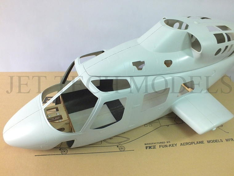 FUNKEY Scale Fuselage BELL 222 .60 (700) size kit (Unpainted Version) with Retractable Landing gear