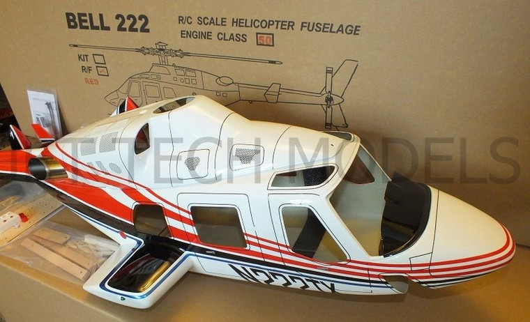 FUNKEY Scale Fuselage Bell 222 .50  (600) size  Red Color with Retractable Landing Gear