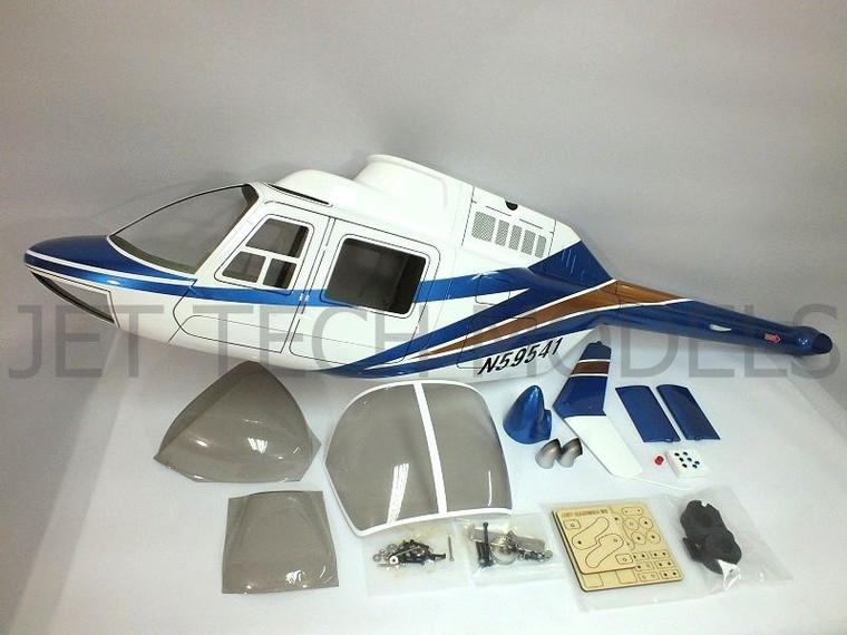 FUNKEY Scale Fuselage Jet Ranger (NEW VERSION) .30 (550) size BLUE COLOR