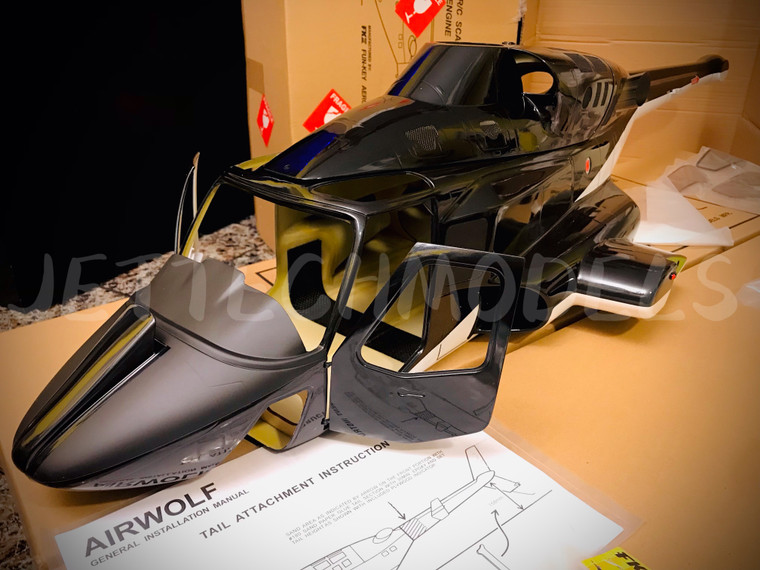 (New version) FUNKEY Scale Fuselage AIRWOLF .60 (700) size Black color with retractable landing gear