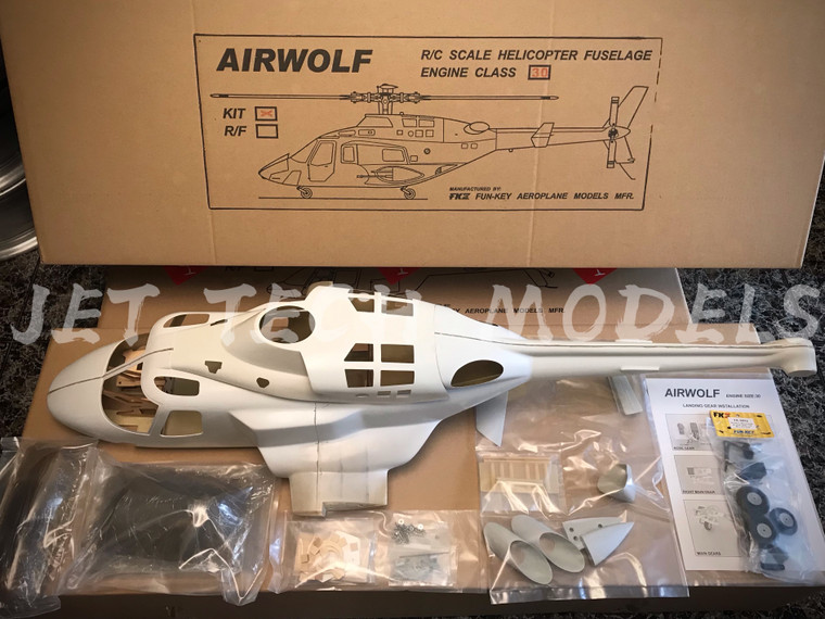 FUNKEY AIRWOLF .30 / 550 size scale fuselage KIT (Unpainted version) with retract landing gear