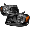 2004-2008 Ford F-150 Factory Style Headlights w/Amber Reflectors (Matte Black Housing/Clear Lens)